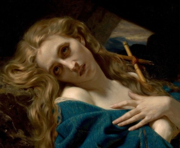 Hugues Merle (1832—1881), 'Mary Magdalene in the Cave'. Oil on canvas, 1868