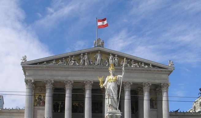 Austrian Parliament building. Courtesy of Wikimedia Commons, https://en.wikipedia.org/wiki/File:Austria_Parlament_Front.jpg