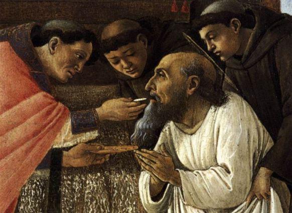 Sandro Botticelli, 'The Last Communion of St. Jerome' (detail), circa 1495. Courtesy of Wikimedia Commons (https://commons.wikimedia.org/wiki/File:Sandro_Botticelli_-_The_Last_Communion_of_St_Jerome_(detail)_-_WGA2834.jpg)
