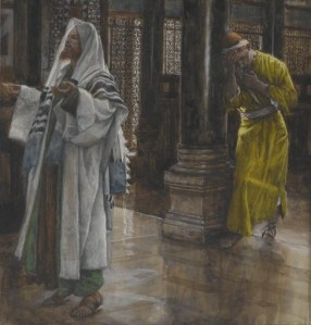 James Tissot (1836—1902), 'The Pharisee and the Publican' (detail). Courtesy of Wikimedia Commons, https://commons.wikimedia.org/wiki/File:Tissot_The_Pharisee_and_the_publican_Brooklyn.jpg