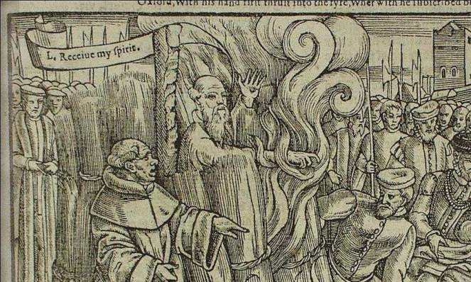 Detail from the martyrdom of Archbishop Thomas Cranmer (1556), in John Foxe's Book of Martyrs. Courtesy of Wikimedia Commons