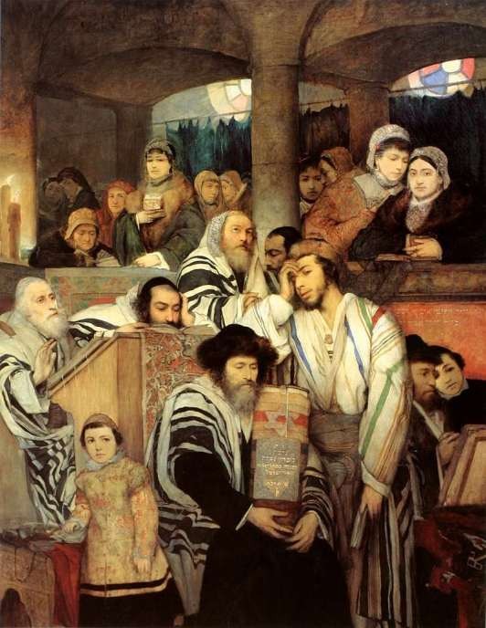 Maurycy Gottlieb, 'Jews Praying in the Synagogue on Yom Kippur' (1878). Courtesy of Wikipedia