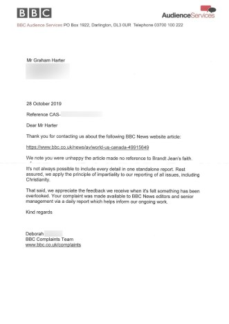 Reply from BBC Audience Services to my complaint letter over their 'cut' of Brandt Jean forgiving his brother's killer