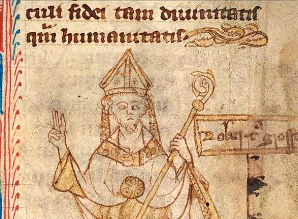 Detail from a portrait of Bishop of Lincoln Robert Grosseteste (c. 1175—1253), from a 14th-century manuscript in the British Library. Courtesy of Wikimedia Commons