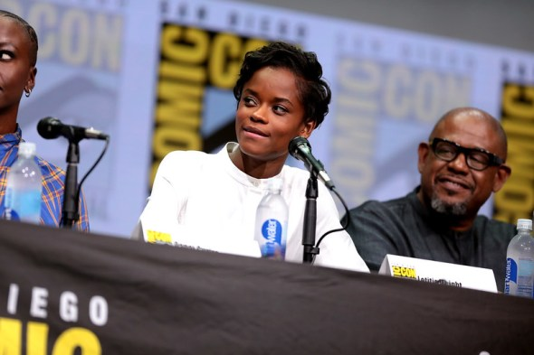 Letitia Wright & Forest Whitaker in 2017. Courtesy of Gage Skidmore (Flickr / gageskidmore)