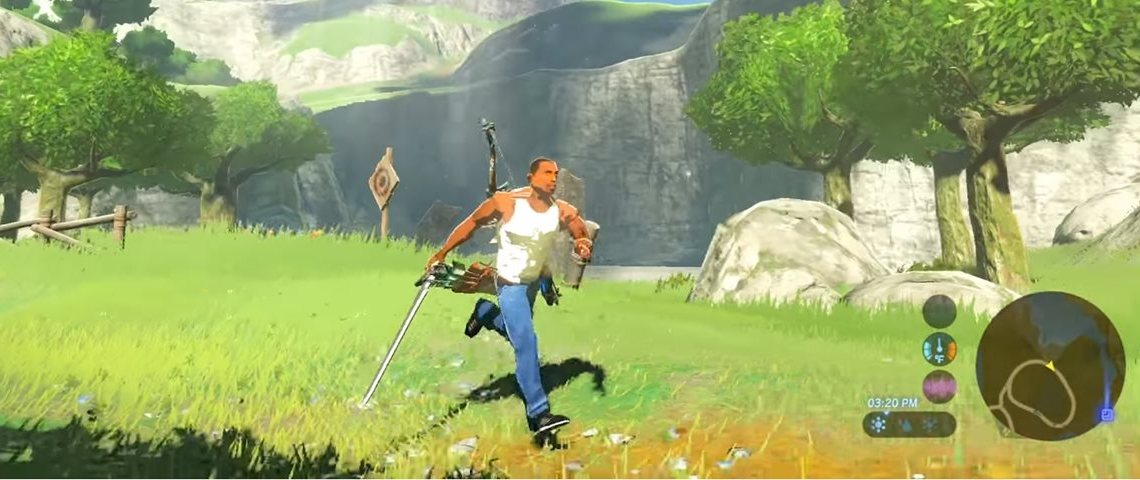 CJ é o novo personagem em Zelda: Breath of the Wild [MOD]