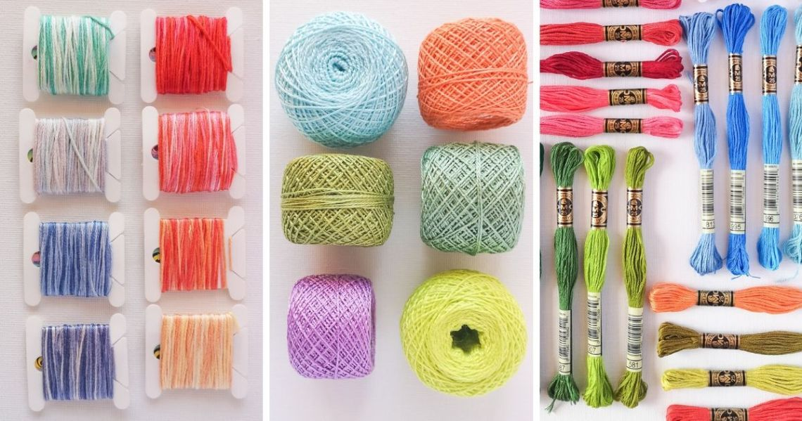 Embroidery floss, pearl cotton and variegated floss, hand embroidery thread