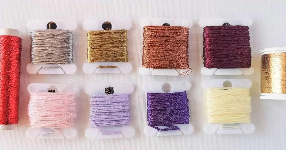 Metallic hand embroidery threads