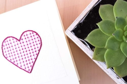 Valentine's card, embroidered heart, succulent