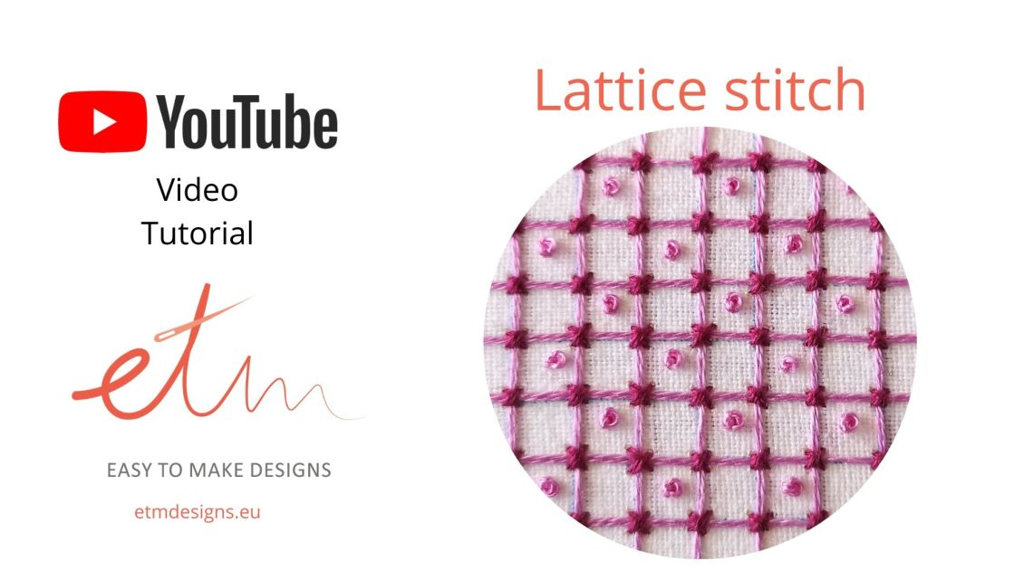 Lattice stitch video tutorial cover, pink
