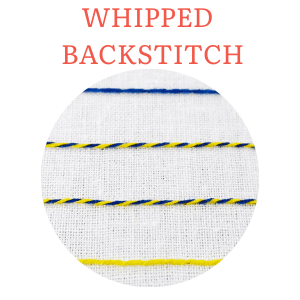 Whipped backstitch hand embroidery