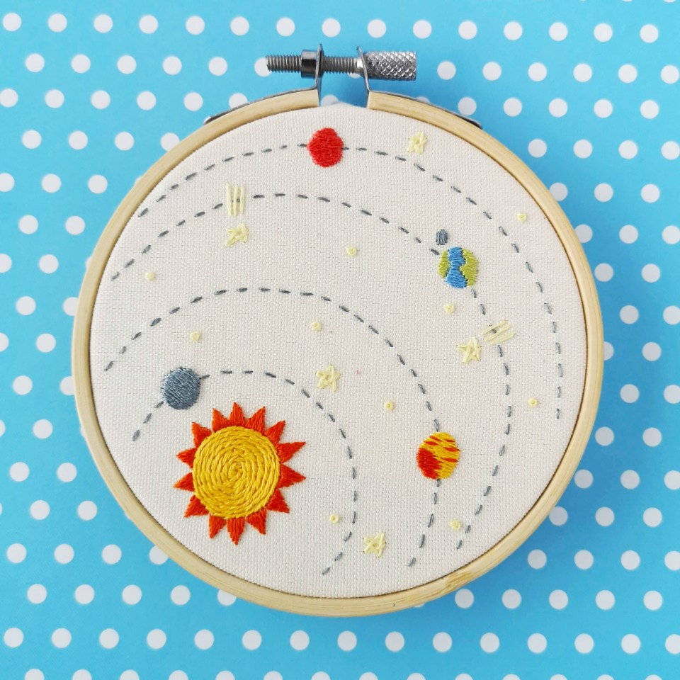 Solar system hand embroidery pdf pattern