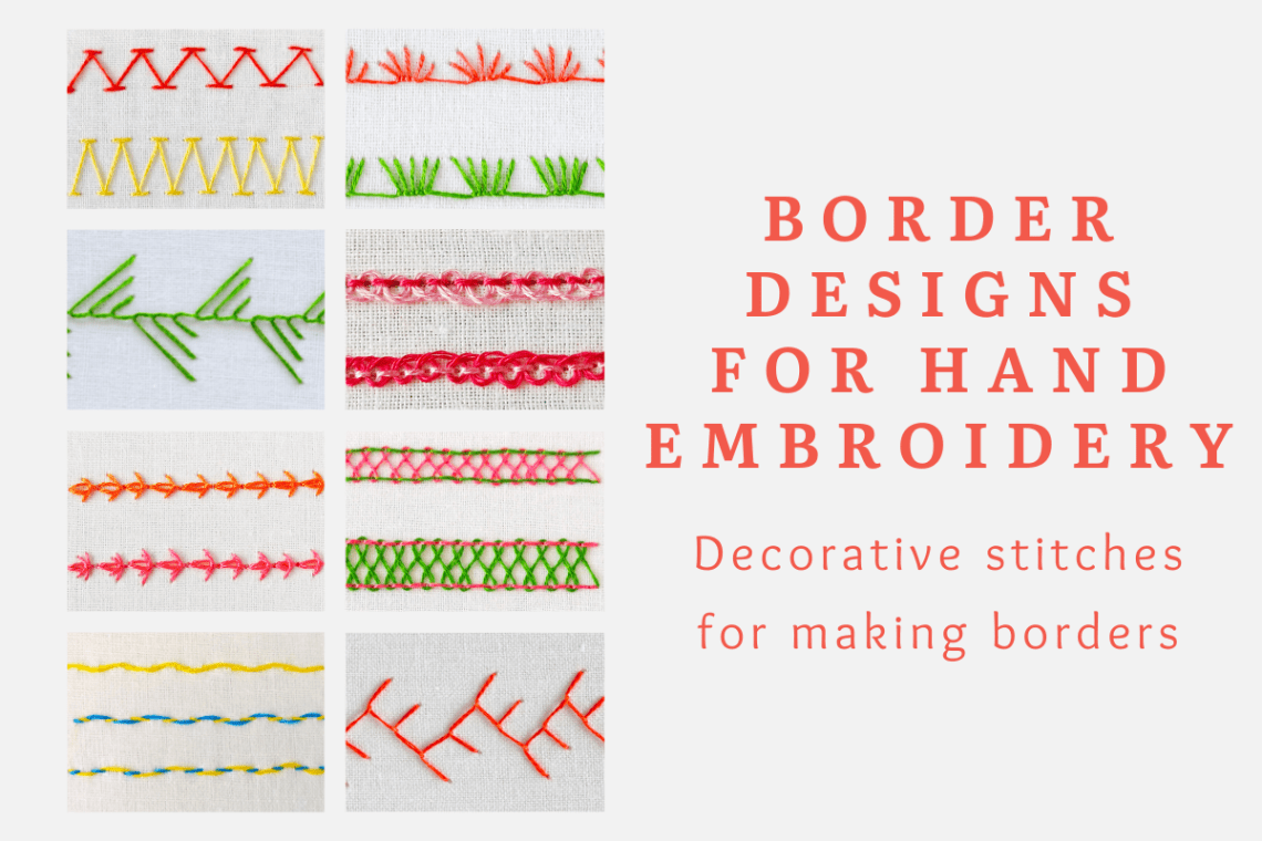 Border designs for hand embroidery
