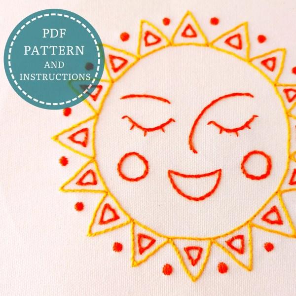 Happy Sun hand embroidery pdf pattern 2