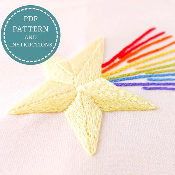 Rainbow Star hand embroidery pdf pattern 4