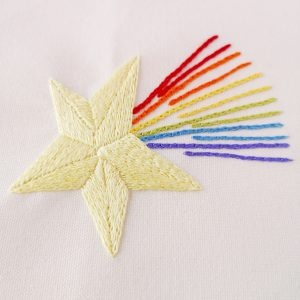 Rainbow star embroidery pattern