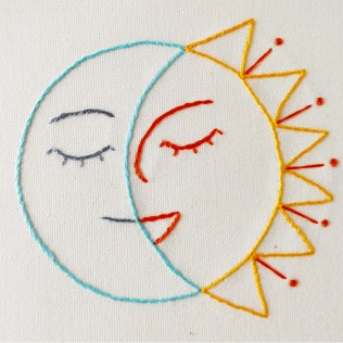 Smiling Sun and Moon embroidery pattern