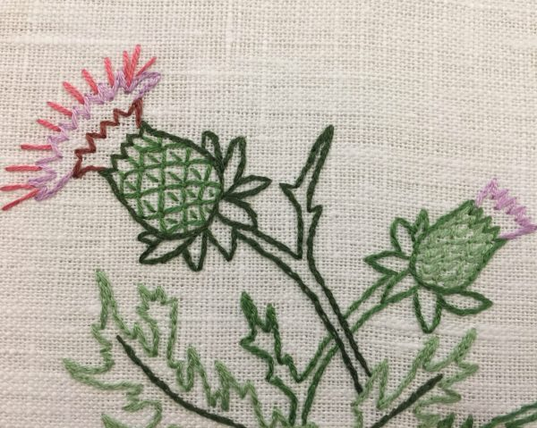 Thistle Hand Embroidery Hoop Art 3
