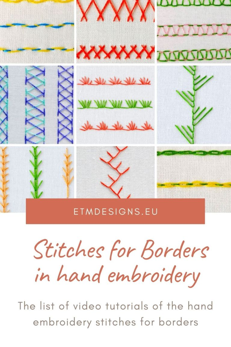 Stitches for borders in hand embroidery