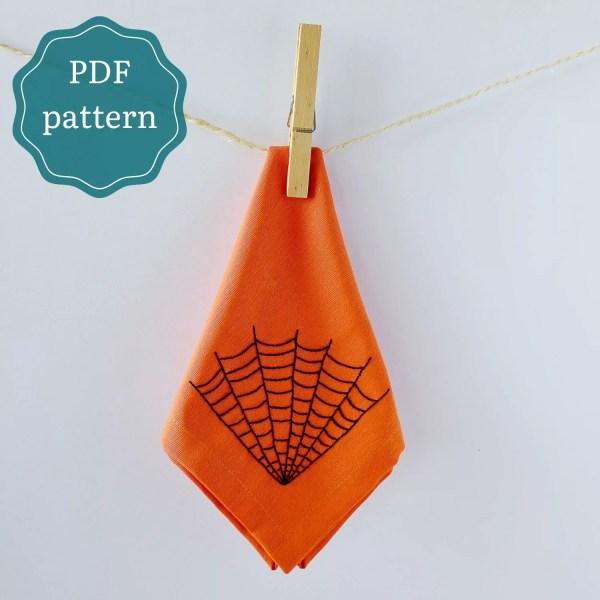 Halloween cobweb hand embroidery pdf pattern