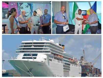 Costa neoRomantica cruise ship makes port of call: Victoria, Seychelles