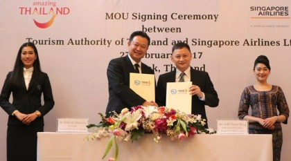 TAT, Singapore Airlines sign MOU to boost travel to Thailand