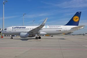 Lufthansa Airbus flies birthday greetings throughout Europe