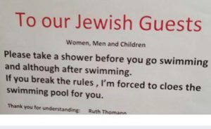 "Swiss hotel tells Jews to ""take a shower"""