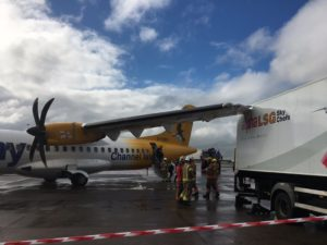 German passenger plane crashes into delivery truck at Manchester Airport