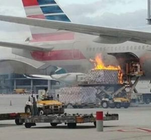 American Airlines flight canceled after cargo loader bursts into flames