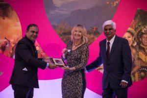 Fiona Jeffery OBE Ambassador of Peace with Minister Jaykumar Rawal and Kiran Yadav