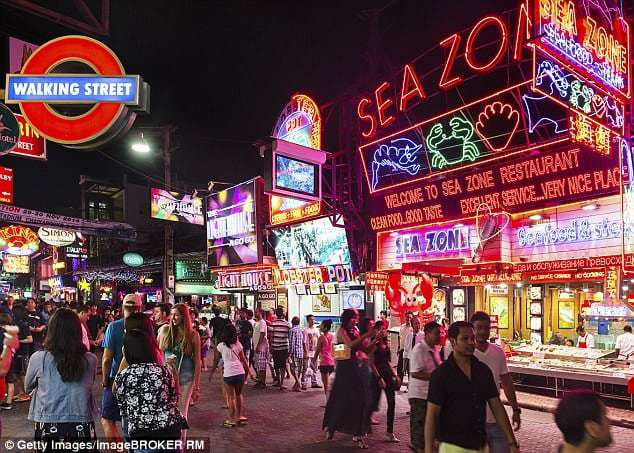 Pattaya's bustling night strip (pictured) is known for its seedy reputation and local sex industry
