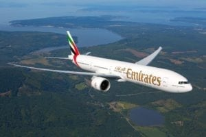 Emirates flies its new Boeing 777-300ER from Dubai to London Stansted