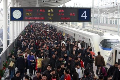 Chinese New Year travelers took 60.3 million railway trips during holiday week