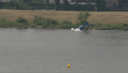 Pilot killed after plane crashes into river at Polish airshow