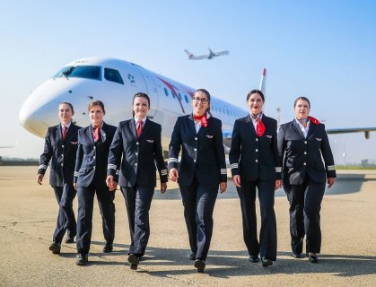 Which airlines have the highest proportion of female pilots?