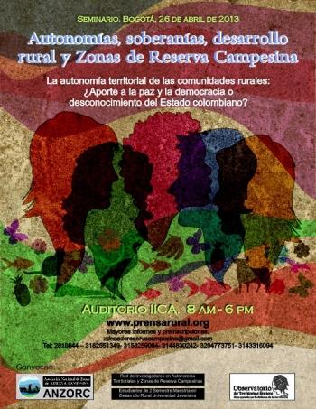 Gráfica alusiva a SEMINARIO: Autonomías, soberanías, desarrollo rural y Zonas de Reserva Campesina