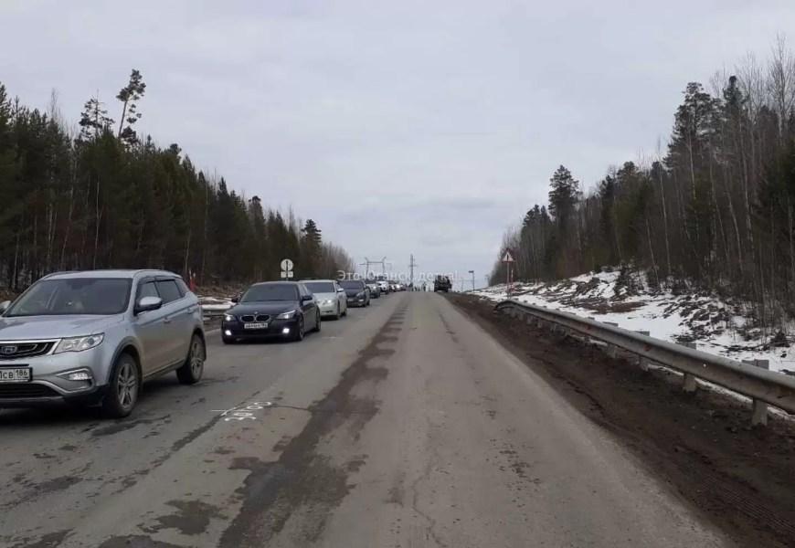В районе салыма из-за дорожного ремонта образовались пробки