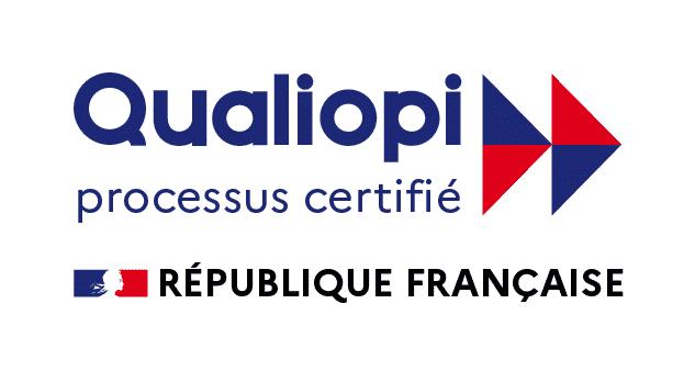 logo Qualiopi en couleur bleu et rouge