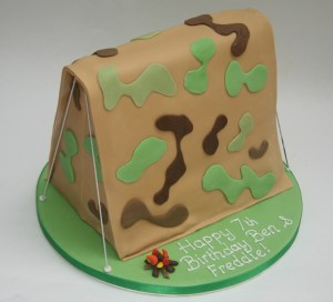 Camouflage Tent Cake