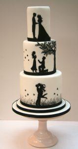 Romantic Silhouette Wedding Cake