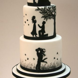 Romantic Silhouette Wedding Cake