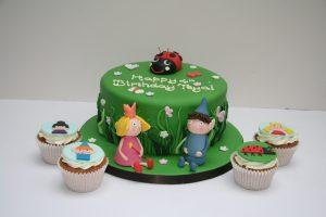 Ben, Holly & Gaston Cake and Cupcakes
