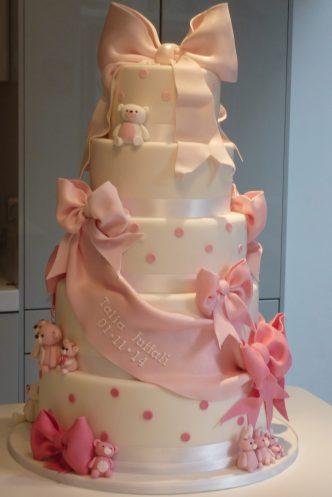 Ribbon and Bow Naming Day Cake
