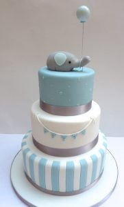 Elephant Stripe Christening Cake