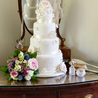 Rose and Lace Wedding Cake