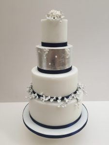 Silver Lily of the Valley Wedding Cake