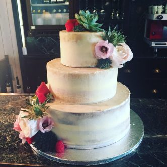 Semi Naked Wedding Cake with Succulent flowers