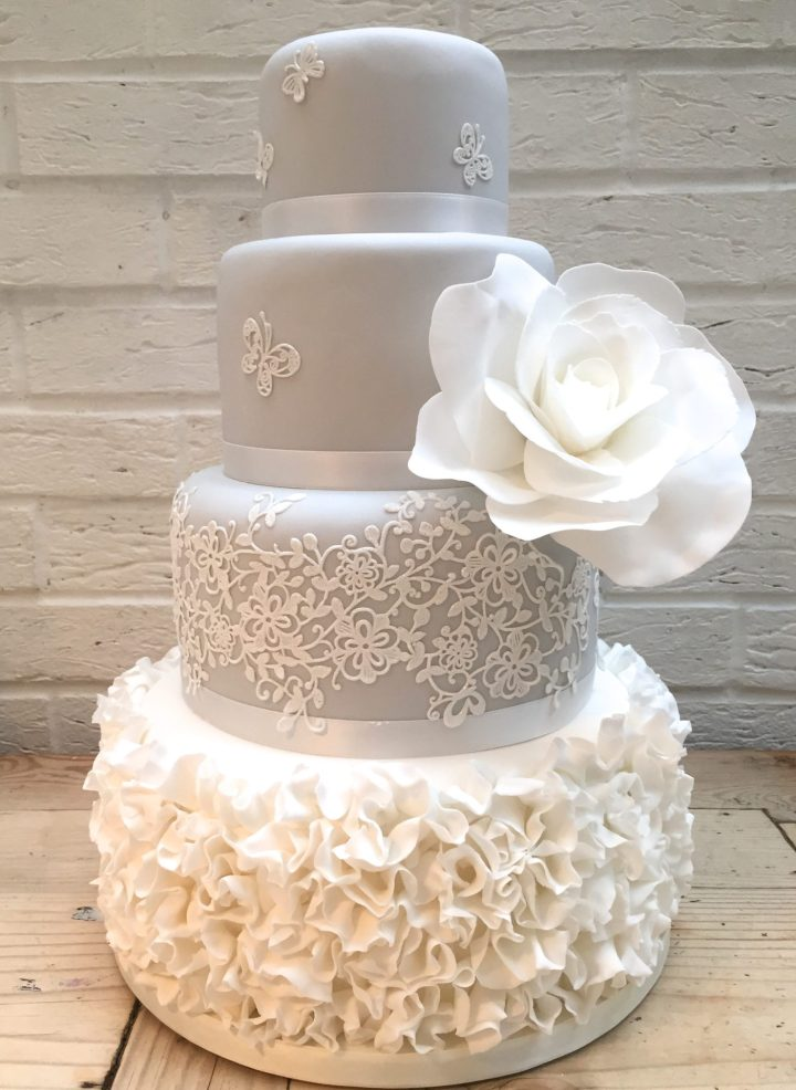 Grey Ruffle Lace Wedding Cake