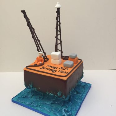 Oil Rig Birthday Cake